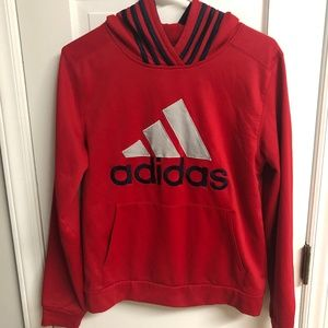 adidas Boys L 14/16 Red Blue Fleece Hoodie